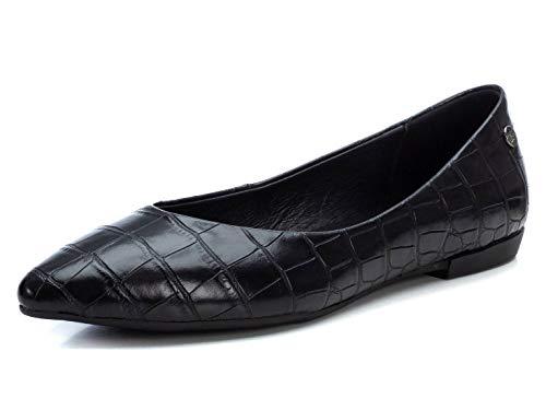 XTI - Zapato Tipo Bailarina para Mujer - Suela de Goma - Negro - 38 EU