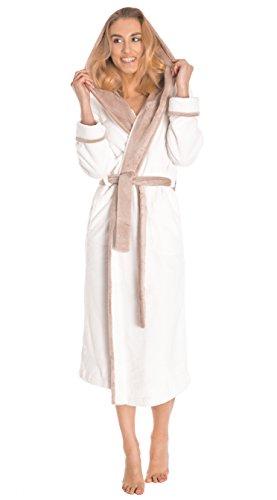 LEVERIE Lunga Vestaglia Invernale Donna con Cinturino, Tasche e Cappuccio, MOD. 1 Bianco/Beige, XXL