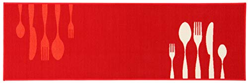 ABC Dinner Tappeto da Cucina, Nylon, Rosso, 57 x 200 cm
