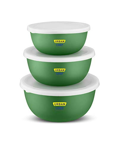 Urban Chef Flora Stainless Steel Microwave Safe 3 Pcs. Bowl Set with Lid-Dark Green