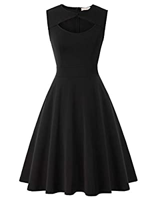 Womens Vintage Dresses Fabric: 95%Polyester + 5% Spandex Cocktail Dress Features: Cut-Out Design, Sleeveless, A-line silhouette, Concealed zipper in the back Occasion:Dress for Cocktail, Birthday, Daily Casual, Easter, Wedding Guest, Tea Party, Brida...