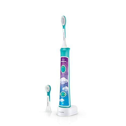 Philips Sonicare HX6322/04 ForKids Spazzolino Elettrico per Bambini con Tecnologia Sonica, Connesso all'App per un'Igiene Orale Divertente