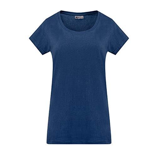 Camiseta de cuello redondo ecológica de algodón orgánico de cáñamo para mujer Azul azul marino XXL