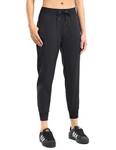 CRZ YOGA Women's Lightweight Joggers Pants with Pockets Drawstring Workout Running Pants with Elastic Waist Black Medium 1