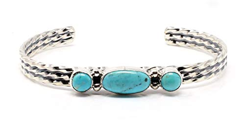 L7 Trading Sterling Silver Three Stone Turquoise Bracelet by...