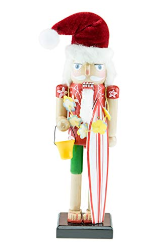 Clever Creations Surfing Santa 10 Inch Traditional Wooden Nutcracker, Festive Christmas Décor for Shelves and Tables