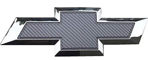 Qbc Craft Chevy Bowtie Emblem Overlay (3 Pack) Grey 3M Carbon Fiber Cut-Your-Own Car Wrap Kit DIY GM Symbol Logo Grille Easy to Install 12 x 4 Sheets (x3) Gray