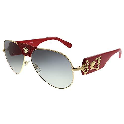 31SC5zw4QuL Brand: Versace Model: VE2150Q Style: Fashion Pilot Temple/Frame Color: Gold/Red Leather - 1002/11 Lens Color: Grey Gradient Size: Lens-62 Bridge-14 Temple-140mm