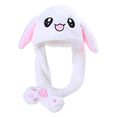dressfan Giocattolo del Cappello dell'orecchio di Coniglio della Peluche delle Ragazze delle Ragazze Divertenti Regalo di Compleanno-Premendo Il Bunny cap farà