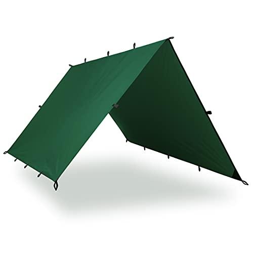 Aqua Quest Guide Tarp - 100% Waterproof Ultralight Ripstop SilNylon Backpacking Rain Fly - 10x7, 10x10, 13x10, 20x13 ft Green or Olive Drab (Green, 20 x 13 ft   6 x 4 m)