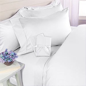 Elegant Comfort Luxurious Soft 1500 Thread Count Egyptian 6-Piece Premium Hotel Quality Wrinkle and Fade Resistant Coziest Bedding Set, Easy All Around Elastic Fitted Sheet, Deep Pocket, Queen, White