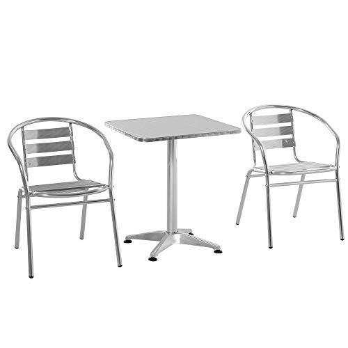 Outsunny Set Tavolino e Sedie da Giardino da 3 Pezzi, Arredamento da Giardino in Alluminio e Acciaio Inox, Argento