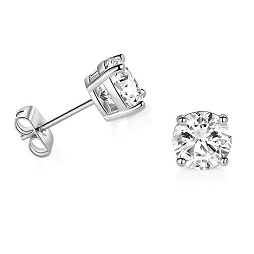 14k White Gold 5mm Solitaire Round Cubic Zirconia CZ Stud Earrings with 14k Gold butterfly Push-backs