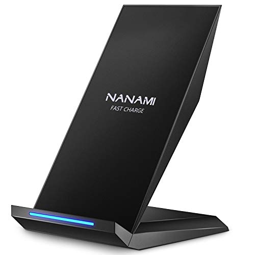 NANAMI Fast Wireless Charger, Qi Ladegerät für iPhone 11 /XS/XS Max/XR/X/ 8/8 Plus, kabelloses Induktive Ladestation Schnellladestation für Samsung Galaxy S20 S10 S10e S9 S8 Plus S7 Edge Note 10/9 usw