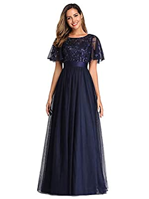 Fully lined, no built-in bras Features: A-Line, empire waist, flared sleeves, sequin embroidery upper half, floor length tulle prom dress Delicate embroidery design with flared sleeves, this prom dress is more elegant and flattering Perfect for weddi...