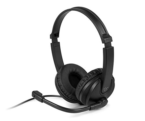 Aluratek Wired USB Stereo Headset with Noise Cancelling Boom Mic and in-Line Controls, for Distance Learning, Zoom, MS Teams, Video Conferencing, Skype, Gaming, Music Play, Webinars (AWHU02FB), Black