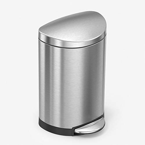 simplehuman 10 Liter / 2.3 Gallon Stainless Steel Small Semi-Round Bathroom Step Trash Can, Brushed Stainless Steel