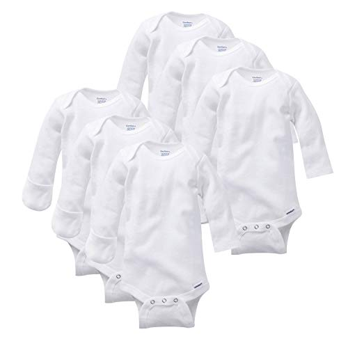 Gerber Baby 6-Pack Long-Sleeve Mitten-Cuff Onesies Bodysuit,...