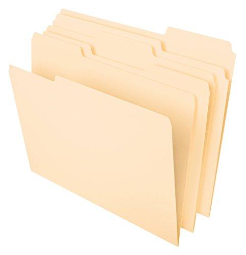 Pendaflex File Folders, Letter Size, 8-1/2' x 11', Classic Manila, 1/3-Cut Tabs in Left, Right, Center Positions, 100 Per Box (65213)