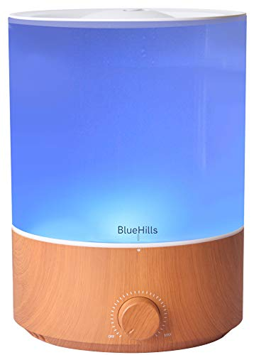 BlueHills Premium 4000 ml XL Essential Oil Diffuser 4L 4 Liter 70 hour run Humidifier Aromatherapy 1 Gallon Big Capacity High Mist Output for Large Room Home Mood Lights Wood Grain E403