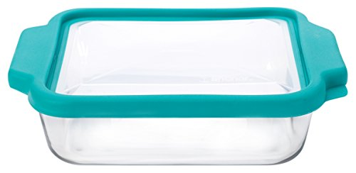 Anchor Hocking 8-inch Square Glass Baking Dish with Airtight TrueFit Lid, Teal, Set of 1