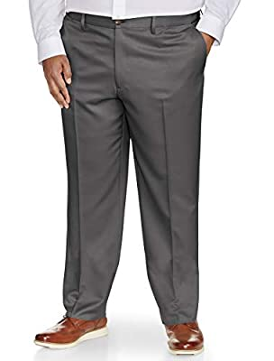 With fits designed by DXL, Amazon Essentials offers menswear built for your proportions. Put your best foot forward. This classic-fit flat-front dress pant is crafted from a wrinkle-resistant 100% polyester and features a continuous comfort mechanism...