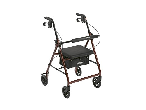 Drive Medical Aluminum Rollator Walker Fold Up and Removable Back Support, Padded Seat, 6' Wheels, Red