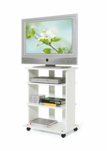 Mobile Carrello Porta TV In Legno Melaminico Elide Colore Bianco Antigraffio Altezza 80 cm Larghezza...