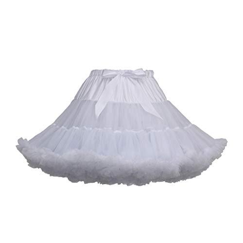 Lenfesh Mujeres Cancan Rockabilly 50s Retro Enaguas Faldas Baile de Ballet Tutu Faldas Color sólido con Lazo