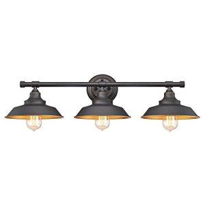 Westinghouse Lighting 6344900 Iron Hill Three-Light Indoor Wall Fixture, 3, Oil Rubbed Bronze/Bronze