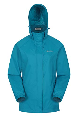 Mountain Warehouse Pakka Jacke für Damen - Wasserfeste Regenjacke, Frau verstaubare Freizeitjacke, atmungsaktive, leichte Windjacke, bequemer Damenmantel - Für Frühling Dunkelblaugrün 40