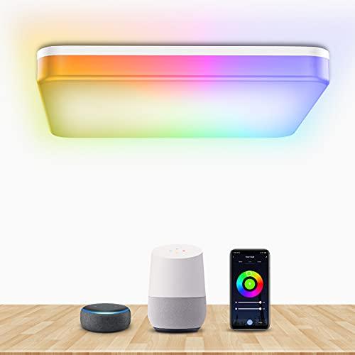 Bewahly WiFi Lámpara Led Techo 28W, WIFI Plafón de Techo Control de App y Alexa/Google Home, con Luz Regulable RGB, IP54 Plafones Led Cocina Cuadrada para Dormitorio, Habitación...