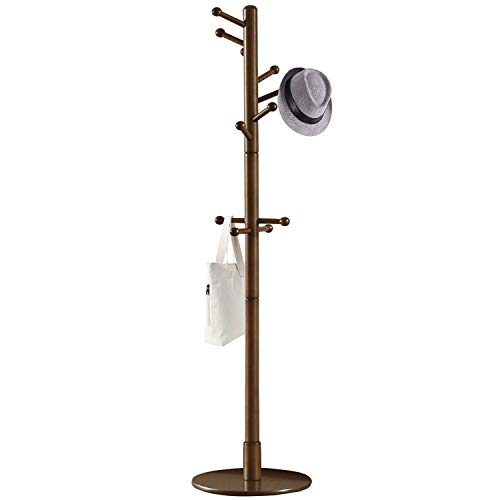 Vlush Sturdy Wooden Coat Rack Stand, Entryway Hall Tree Coat Tree with Solid Round Base for...