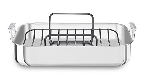 KitchenAid KitchenAid KC1T16RP 16' Tri-Ply Stainless Steel Roaster with Rack - Brushed Exterior and Polished Interior, Brushed Steel