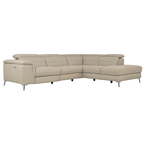 Homelegance 113' x 85' Leather Reclining Sectional Sofa, Cream