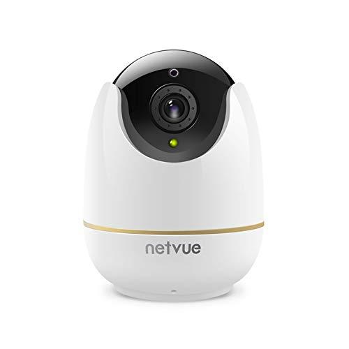 Cámara de vigilancia WiFi para interiores - Netvue 1080P Full HD Wireless Wifi Webcam con detección de movimiento humano, zoom 8x, visión nocturna, audio bidireccional, cámara para perros / mascotas