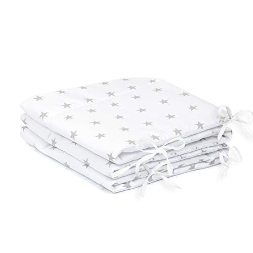 Amilian Tour de lit avec tour de tête 420 x 30 cm, 360 x 30 cm, 180 x 30 cm, 180 x 30 cm, housse de couette pour bébé Motif étoiles Blanc (A3) 180 x 30 cm