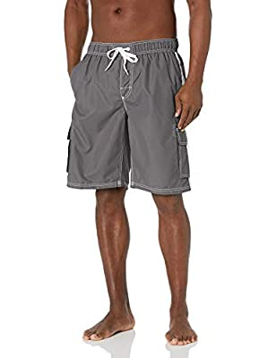 Swim trunk featuring elasticized waistband with drawstring and contrast side stripes Cargo pockets at side
