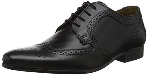 Red Tape Leeson, Zapatos de Cordones Derby Hombre, Negro (Bl