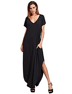 Loose Fit. V neck, short sleeve, side split pockets Soft and comfortable. Fabric is very stretchy Perfect for casual, home, bedroom, loungewear, holiday and beach wear Please refer to the last image of size information or item description below for r...