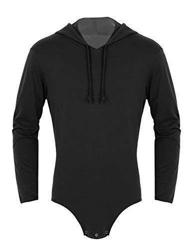 TiaoBug Herren Body Overalls mit Kapuze Hoodie Jumpsuit Langarmshirts Baumwolle Unterhemd Ouvert Bodysuit Strampler mit Knopfleiste Clubwear Schwarz M