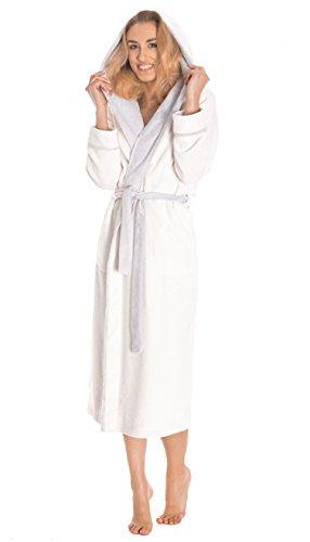 LEVERIE Lunga vestaglia invernale donna con cinturino, tasche e cappuccio, Mod. 1 bianco/grigio chiaro, L