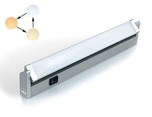 Led Unterbauleuchte Schwenkbar Küchenlampe Unterbau Schrankbeleuchtung mit Schalter Schrauben Dübel Verbindungskabel Warmweiß 3 Farbton Neutralweiß Kaltweiß 350 Lumen 33 cm
