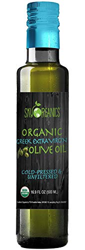 Organic Extra Virgin Olive Oil Sky Organics 100% Pure Greek Cold Pressed Unfiltered Non-GMO EVOO- For Cooking Baking - Hair & Skin Moisturizing, 16.9 oz (1 Pack)