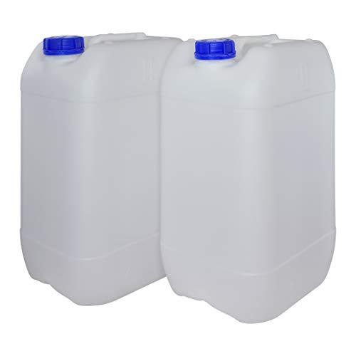 Bidón Garrafa Plástico 25 litros apilable. Apta para uso alimentario como depósito contenedor de agua potable. Homologación para transporte ADR. (2 Unidades)