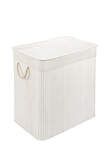 WohnDirect Wäschekorb mit Deckel und 2 Fächer • stabile Wäschebox Bambus • Wäschekorb Weiß mit Wäschesack, waschbar • 100% Bambus • 150 Liter