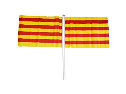 Jiahe 2Banderas Señera Cataluña Pequeñas con Palo 30x45CM - Bandera Senyera Catalana Catalunya