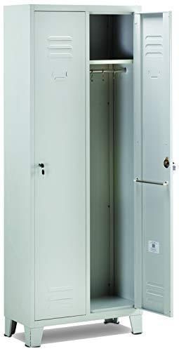 GARDEN FRIEND A1844012 Armadietto spogliatoio 2 posti Misure H 180 x 33 x 68,5 cm, Grigio