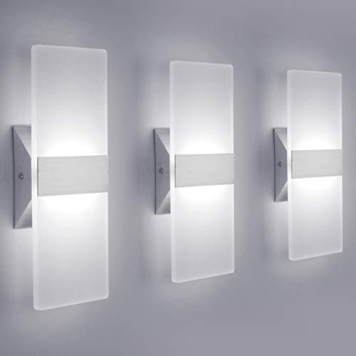 LED Wall Sconce Modern Wall Light Lamps 12W Cool White 6000K Up and Down Indoor Acrylic Lighting Fixture for Living...