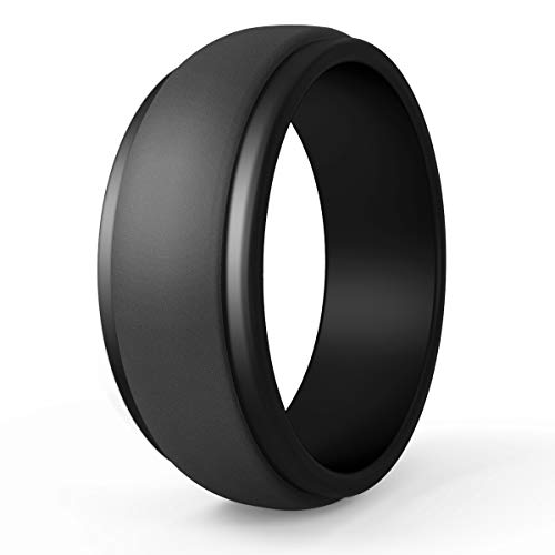 POPCHOSE Silicone Wedding Ring for Men, Mens Silicone Rubber Wedding Bands, Thin Breathable Silicone Ring Size 7 8 9 10 11 12 13, 1 Pack, Size 11